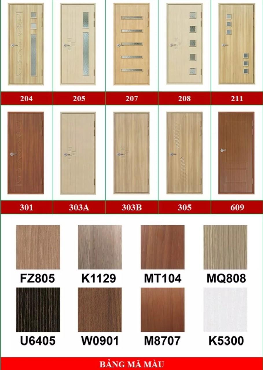 Mẫu và màu cửa nhựa giả gỗ ABS Hàn Quốc